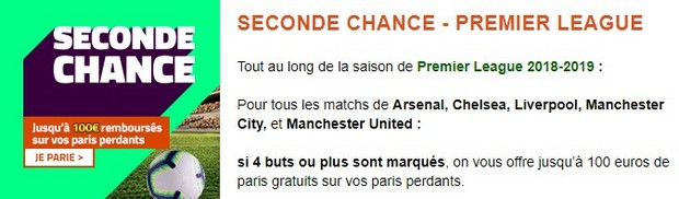 PMU seconde chance premier league